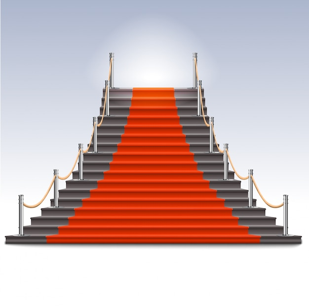 Realistische stenen ladder met rode loper. Premium Vector