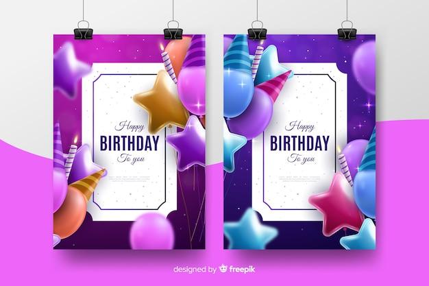 Realistische stijl verjaardag uitnodiging sjabloon Gratis Vector