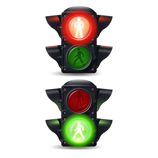 Realistische stop en go voetgangers verkeerslichten instellen Gratis Vector