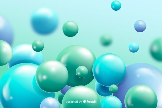 Realistische stromende blauwe ballenachtergrond Gratis Vector