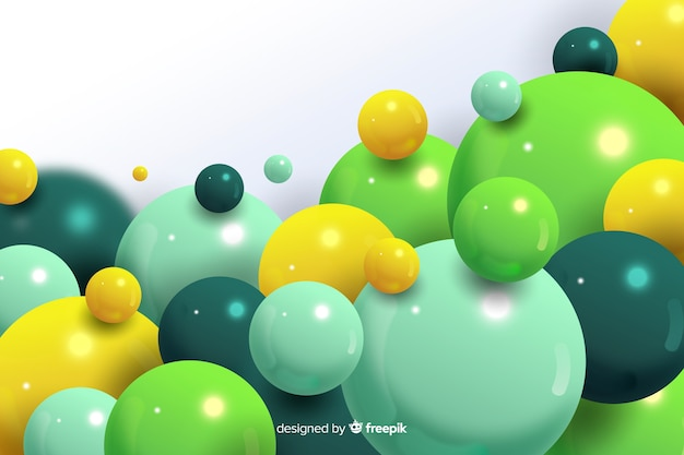 Realistische stromende groene ballenachtergrond Gratis Vector