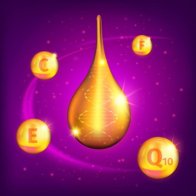 Realistische superieure collageenolie-druppelsamenstelling met weinig gouden vitamines Gratis Vector