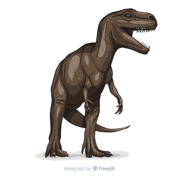 Realistische t-rex achtergrond Gratis Vector
