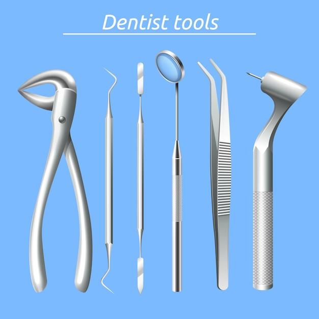 Realistische tandartshulpmiddelen en de reeks van het tandgezondheidszorgmateriaal Gratis Vector