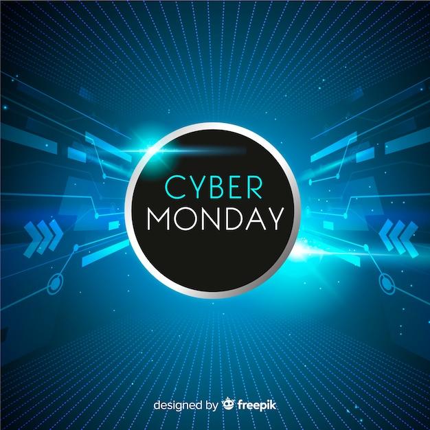 Realistische technologie cyber maandag banner Gratis Vector