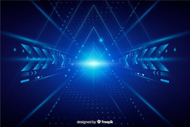 Realistische technologie lichte tunnel achtergrond Gratis Vector