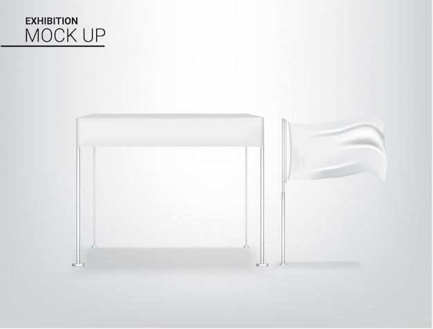 Realistische tenttent display pop-stand voor winkelverkoop marketingbevorderingstentoonstelling met metalen en vlagmalplaatje achtergrondillustratie. reclame conceptontwerp. Premium Vector