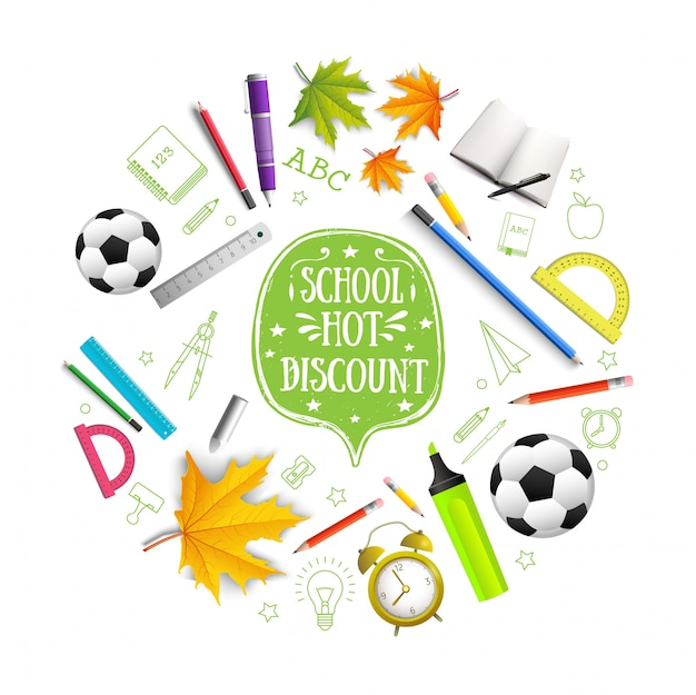 Realistische terug naar school ronde samenstelling met gebeten appel kleurrijke potloden esdoorn bladeren boek markeerstift voetbal bal wekker heersers geïsoleerd Gratis Vector