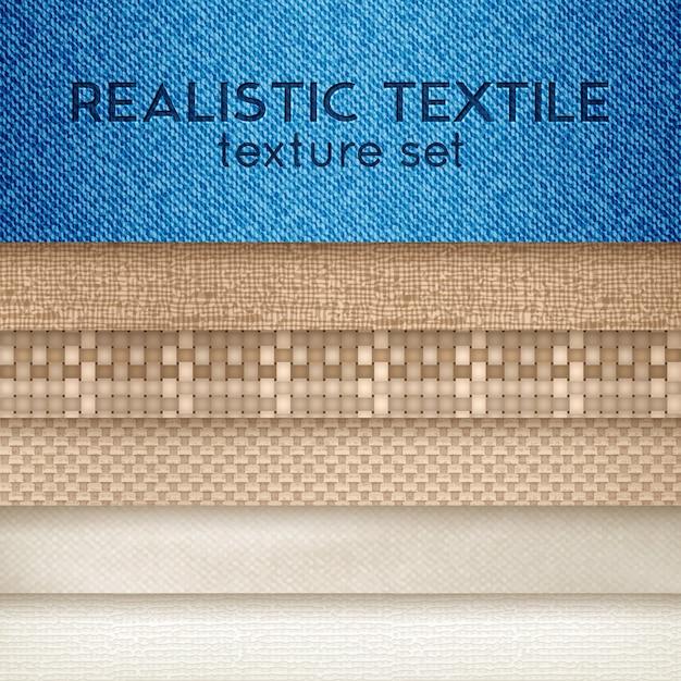 Realistische textiel textuur horizontale set Gratis Vector