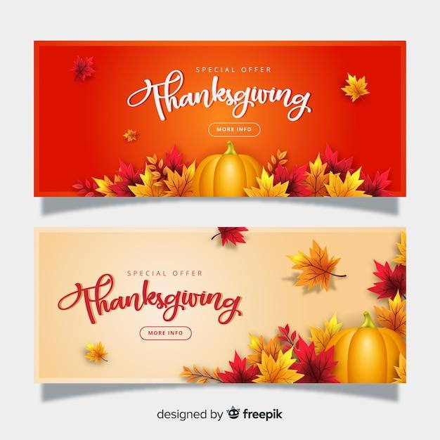 Realistische thanksgiving banners sjabloon Gratis Vector