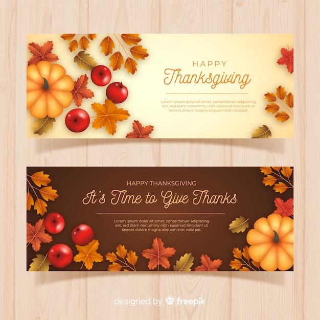 Realistische thanksgiving banners Gratis Vector