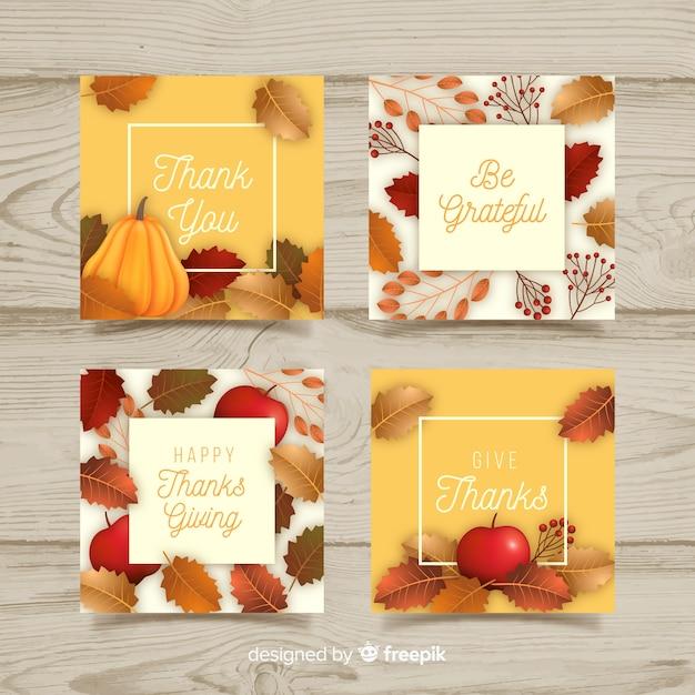Realistische thanksgiving-kaarten instellen Gratis Vector