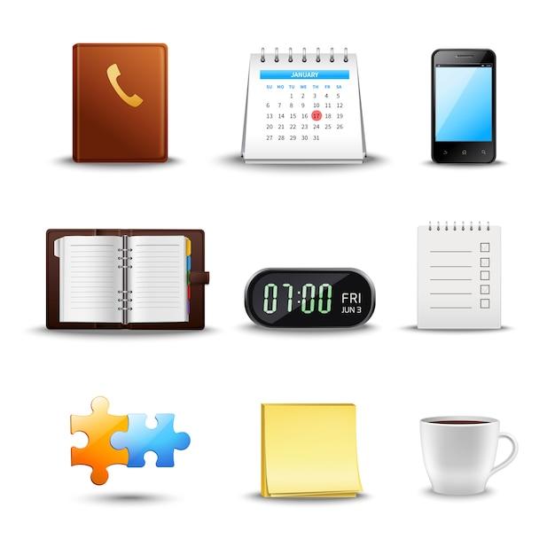Realistische tijd management pictogrammen Gratis Vector