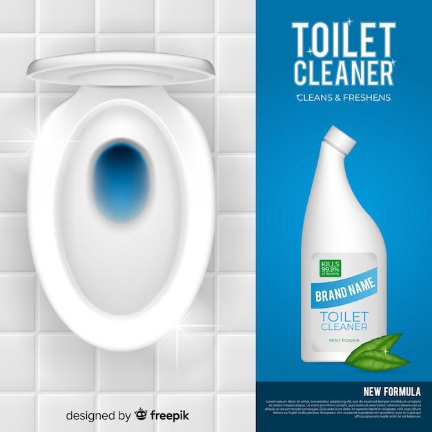 Realistische toilet schonere achtergrond Gratis Vector