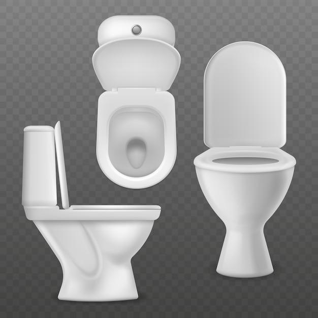 Realistische toiletpot. Premium Vector