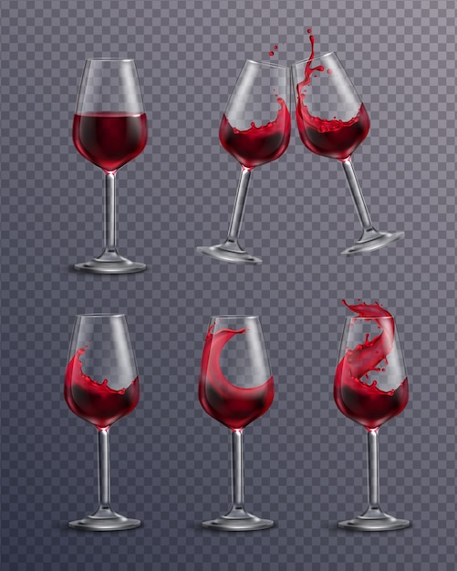Realistische transparante collectie drinkglazen gevuld met rode wijn Gratis Vector