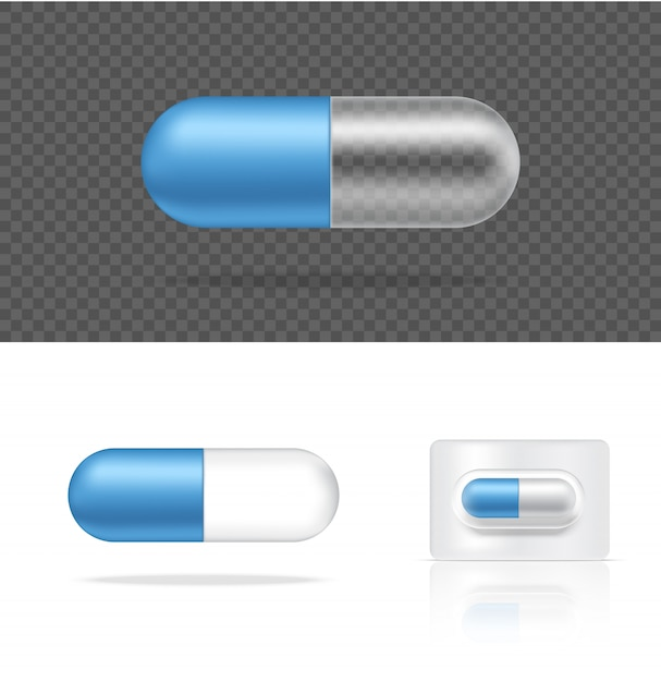 Realistische transparante pil geneeskunde capsule. tabletten medisch en gezondheidsconcept. Premium Vector