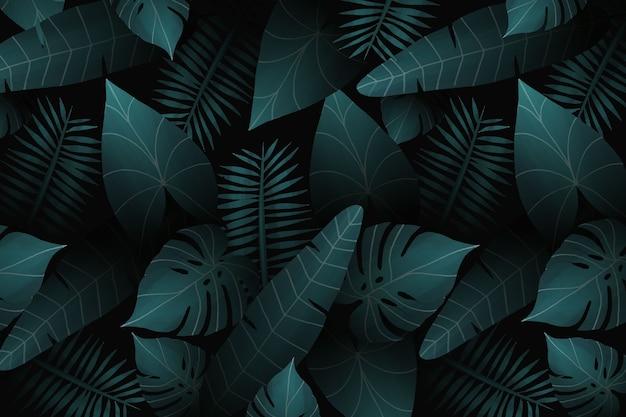 Realistische tropische bladerenachtergrond Gratis Vector