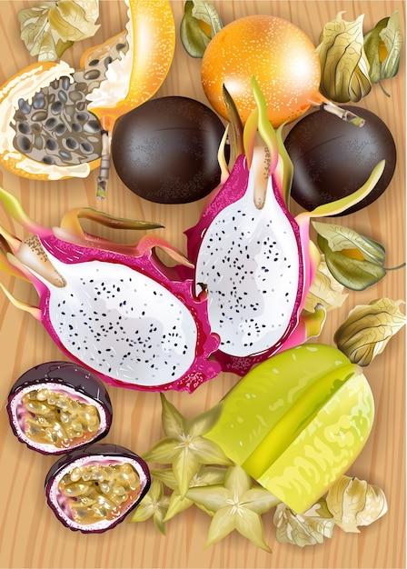 Realistische tropische fruitplaat Premium Vector