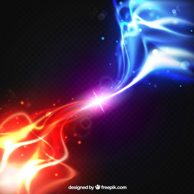 Realistische twee krachten lichteffect achtergrond Gratis Vector