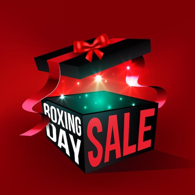 Realistische tweede kerstdag verkoop met open geschenkdoos Gratis Vector