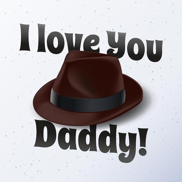 Realistische vaderdag met hoed Premium Vector