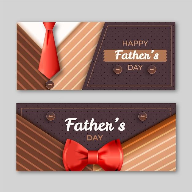 Realistische vaders dag banners sjabloon Gratis Vector