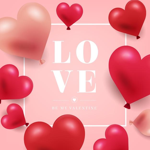 Realistische valentijnsdag achtergrond Gratis Vector