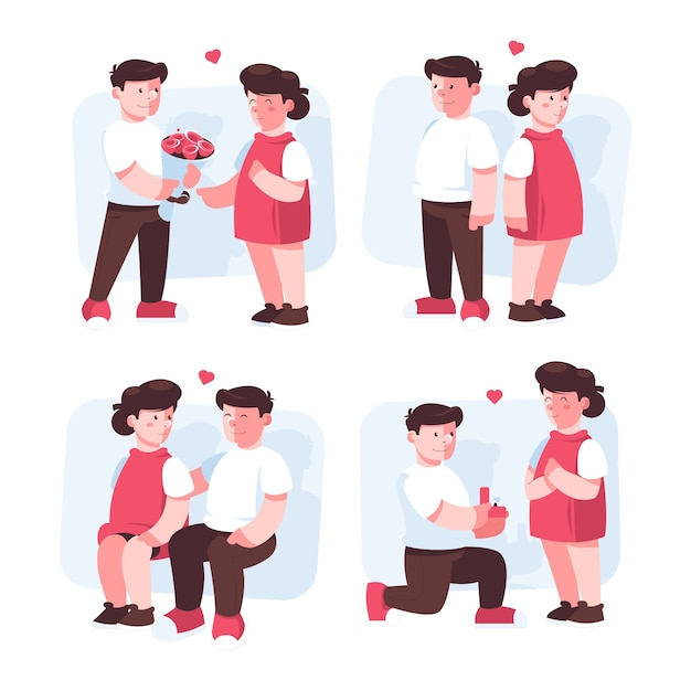 Realistische valentijnsdag paar illustratie Gratis Vector
