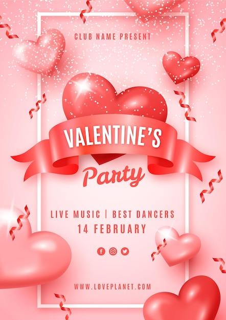 Realistische valentijnsdag partij folder sjabloon Gratis Vector
