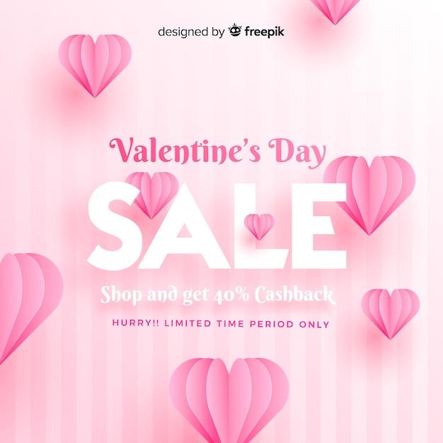 Realistische valentijnsdag verkoop achtergrond Gratis Vector