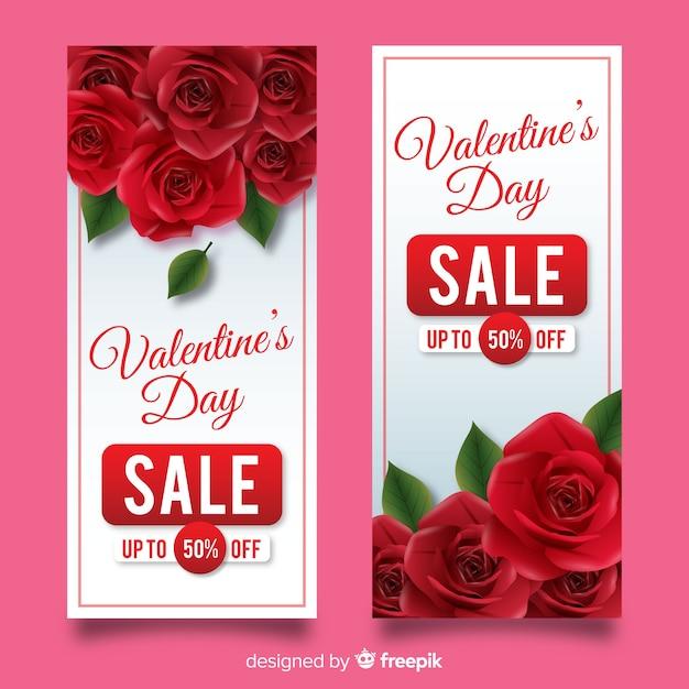 Realistische valentijnsdag verkoop banners Gratis Vector