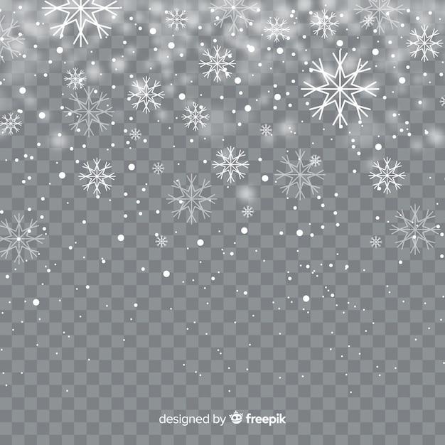 Realistische vallende sneeuwvlokken op transparante achtergrond Gratis Vector