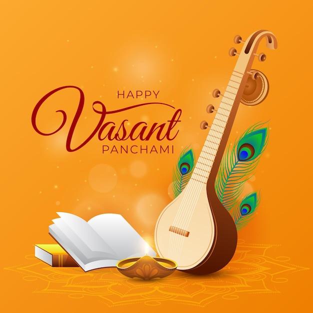 Realistische vasant panchami Gratis Vector