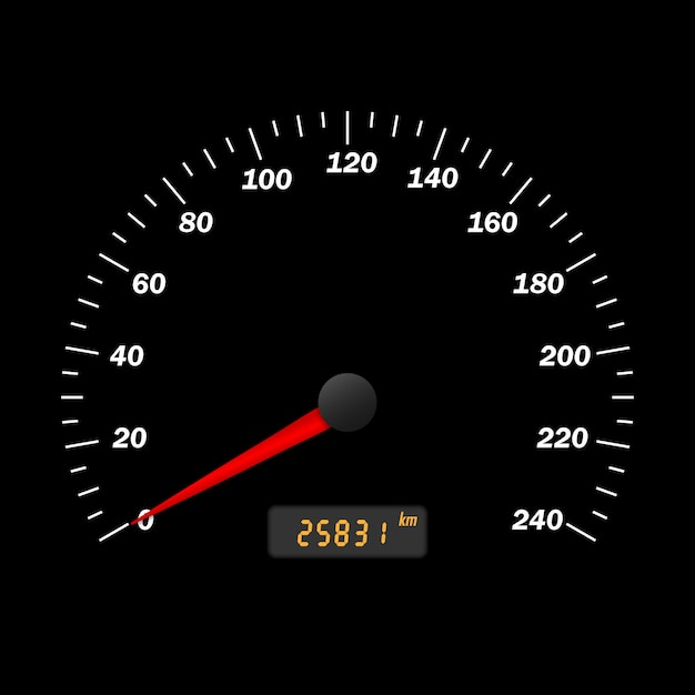 Realistische vector auto snelheidsmeter interface. dashboard-paneel Premium Vector