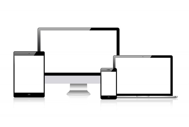 Realistische vector. device set: monitor laptop, tablet en telefoon sjabloon Premium Vector
