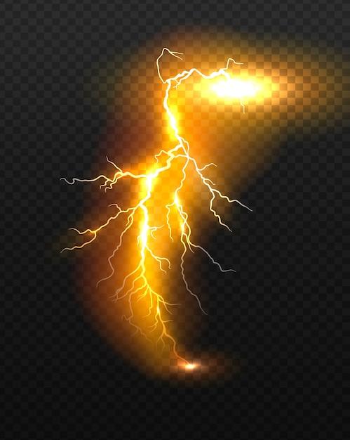 Realistische vector oranje bliksem. Premium Vector