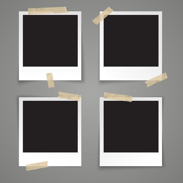 Realistische vector sjabloon leeg fotokader met plakband op grijze achtergrond Premium Vector