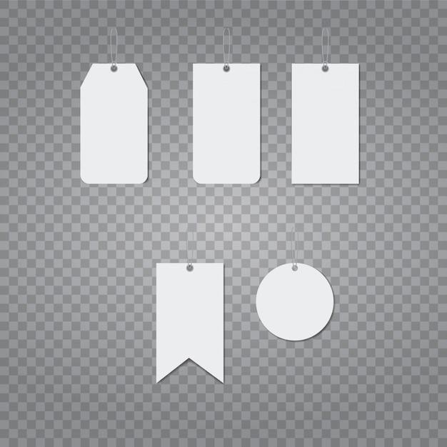 Realistische vector sjabloon van blanco papier prijsetiket Premium Vector