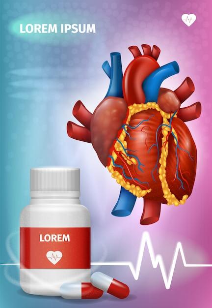 Realistische vectorbevorderingsaffiche van hartdrugs Premium Vector