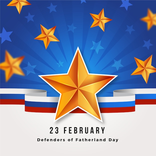 Realistische verdediger van het vaderlanddag 23 februari Gratis Vector