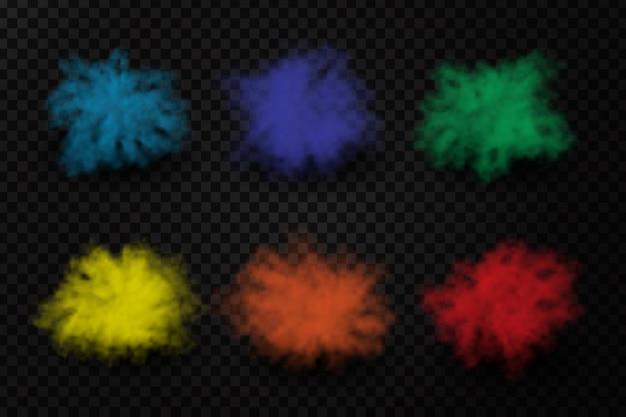 Realistische verfpoeder explosies op de transparante achtergrond. realistisch kleurrijk rookeffect voor decoratie Premium Vector
