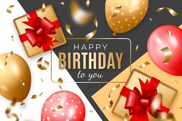 Realistische verjaardag achtergrond met ballonnen en geschenken Premium Vector