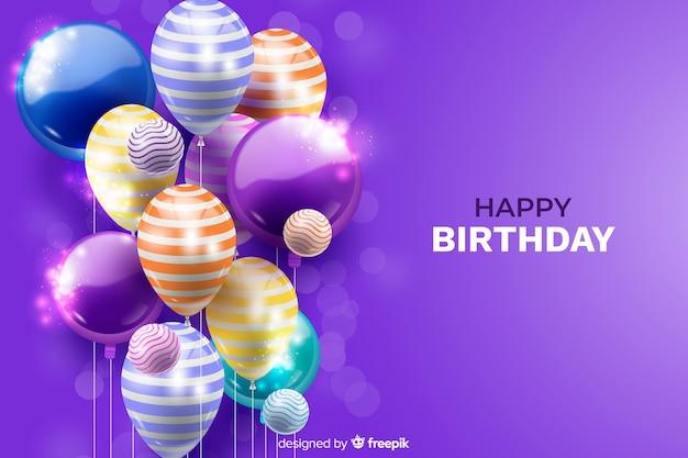 Realistische verjaardag ballon achtergrond Gratis Vector