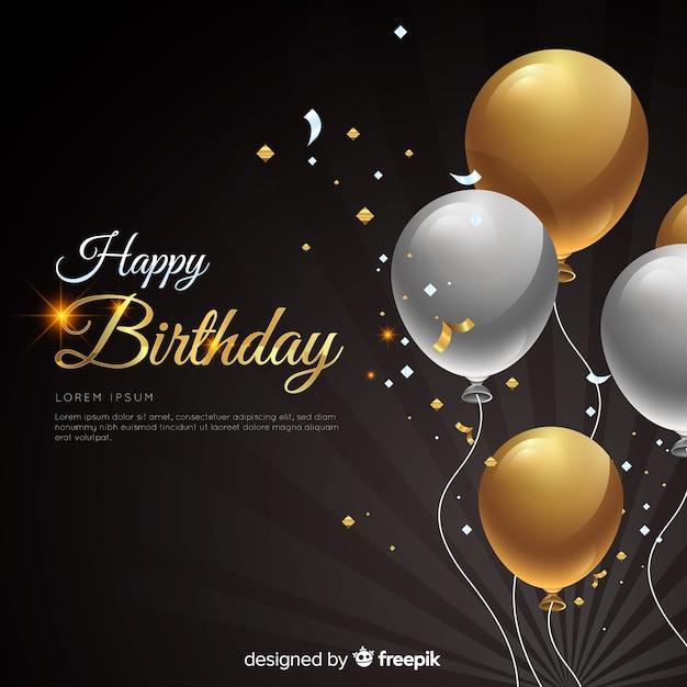 Realistische verjaardag met ballonnen achtergrond Gratis Vector