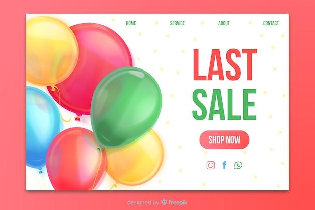 Realistische verkoop bestemmingspagina met ballonnen Gratis Vector