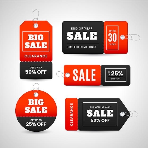 Realistische verkoop tags collectie Gratis Vector