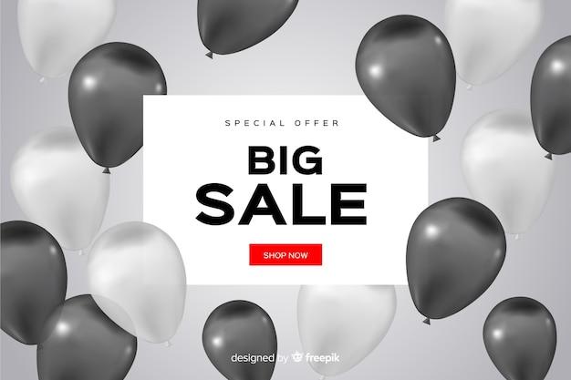 Realistische verkoopachtergrond met ballons Gratis Vector