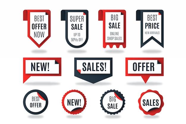 Realistische verkooplabelcollectie Gratis Vector