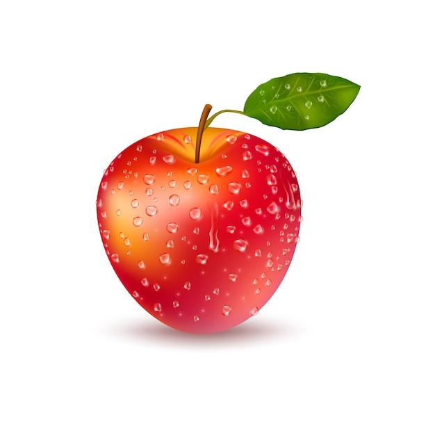 Realistische verse rode appel met druppels Gratis Vector